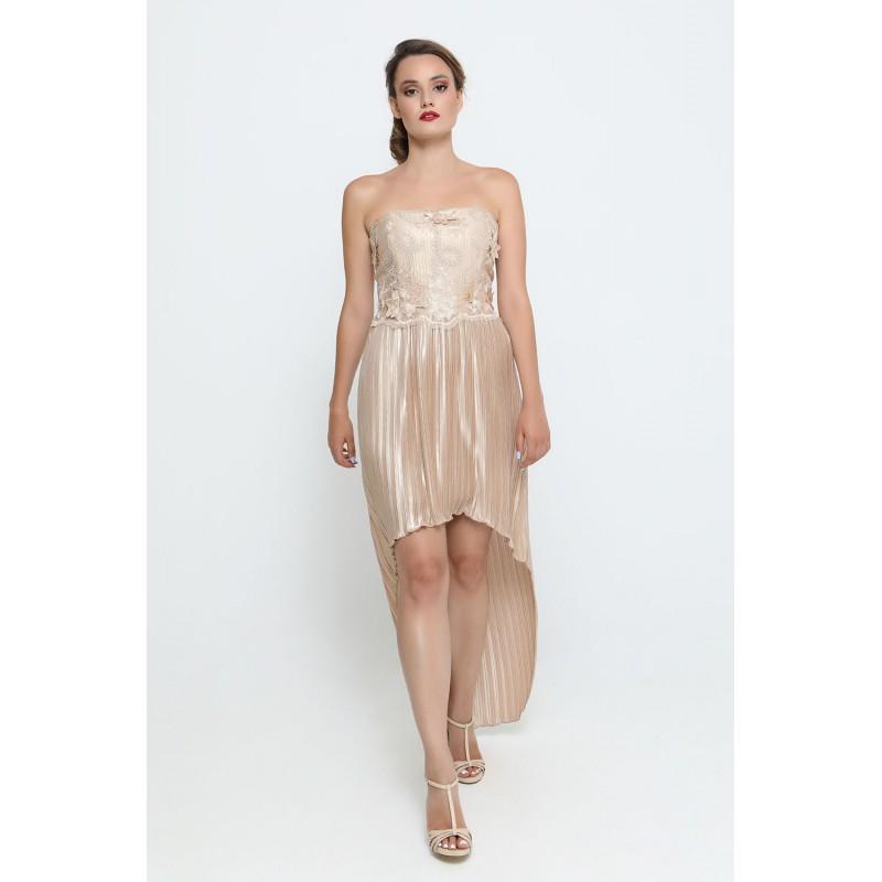 Φόρεμα χρυσό ασύμμετρο