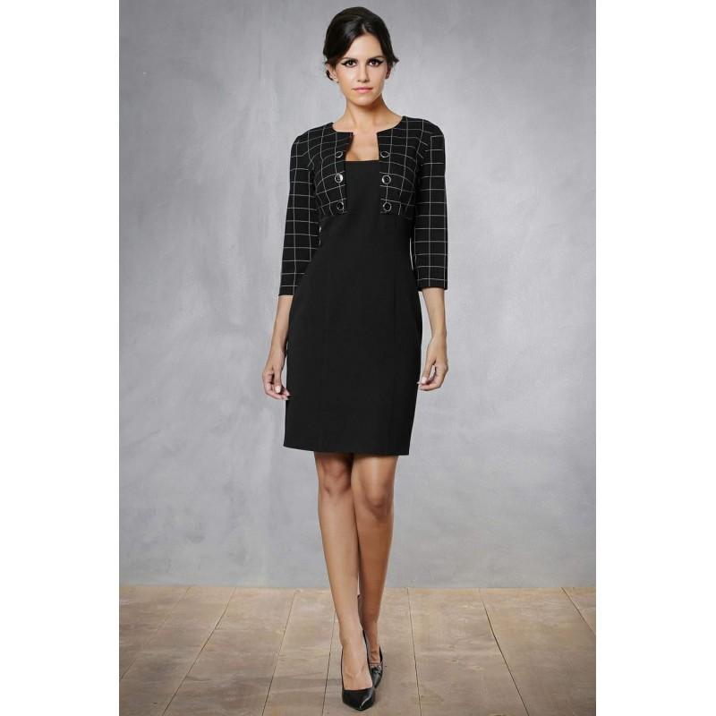 385dc6b9e06e Φόρεμα μαύρο με τετράγωνα