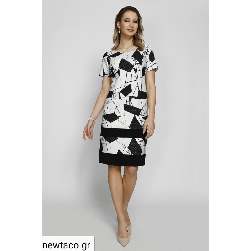 Φόρεμα εκρού μαύρο με σχέδια