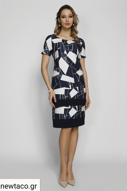Φόρεμα μπλε εκρού με σχέδια Μεγάλα Μεγέθη