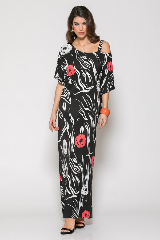 262e40d999ae New -4% Φόρεμα maxi μαύρο με λουλούδια Μεγάλα Μεγέθη