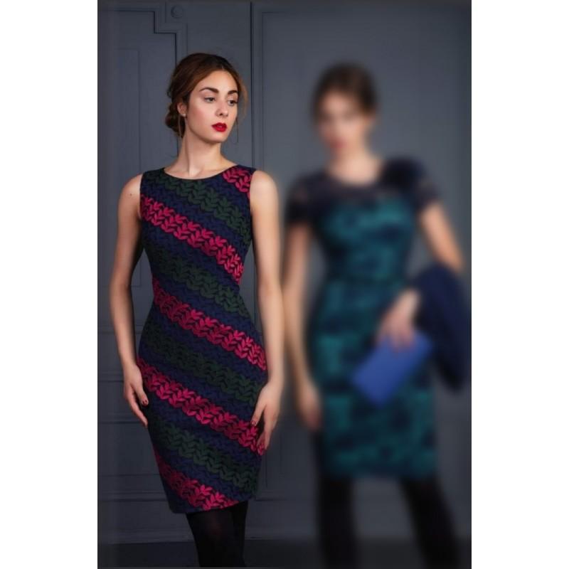 Φόρεμα δαντέλα εμπριμέ ίσιο