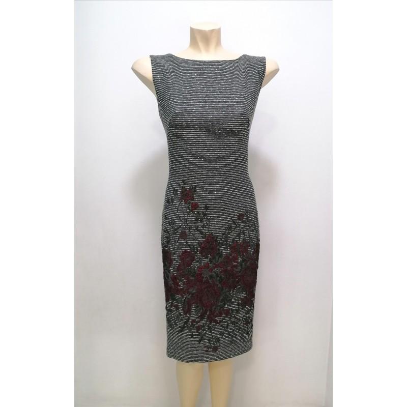 Φόρεμα γκρι με λουλούδια